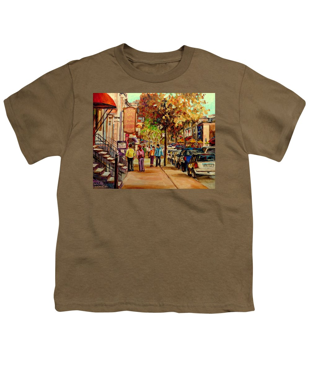 Montreal Streetscenes Youth T-Shirt featuring the painting Crescent Street Montreal by Carole Spandau