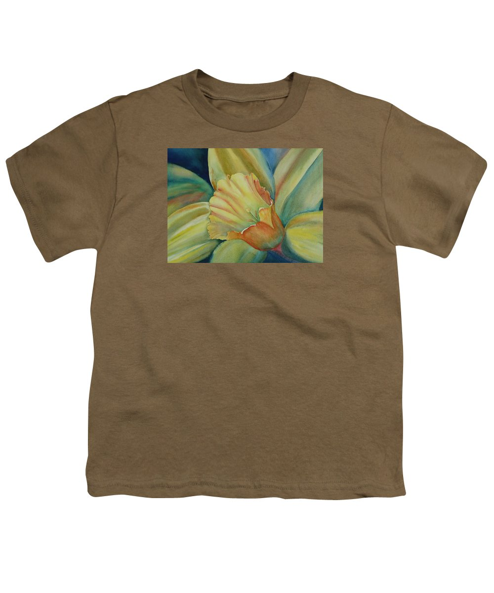 Flower Youth T-Shirt featuring the painting Dazzling Daffodil by Ruth Kamenev