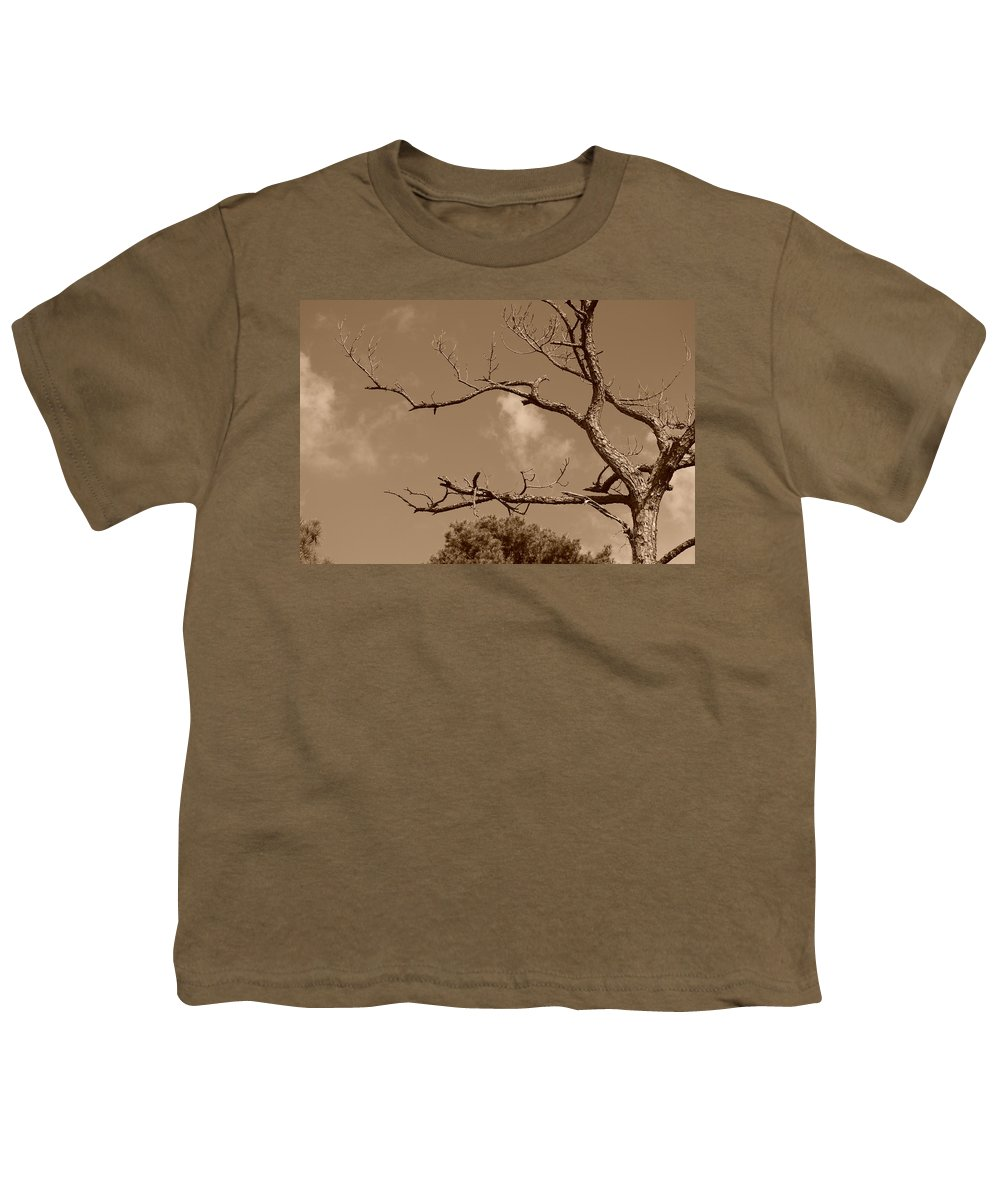 Sepia Youth T-Shirt featuring the photograph Dead Wood by Rob Hans