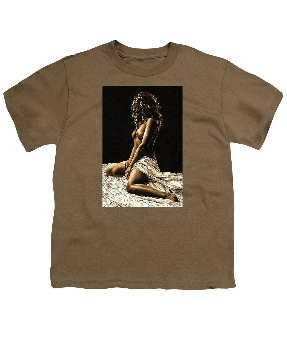 Nude Youth T-Shirt featuring the painting Defiance by Richard Young