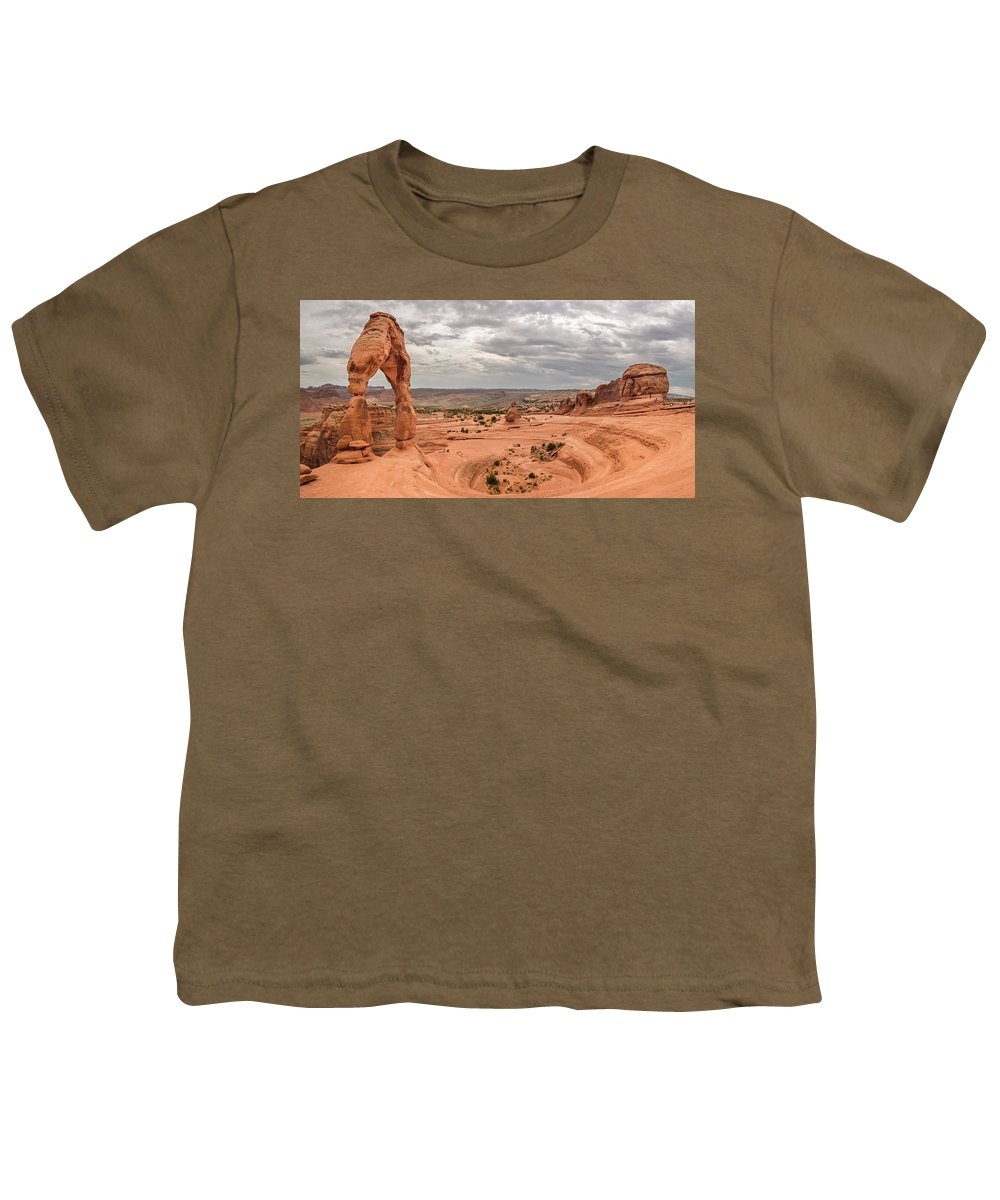 3scape Photos Youth T-Shirt featuring the photograph Delicate Arch Panoramic by Adam Romanowicz