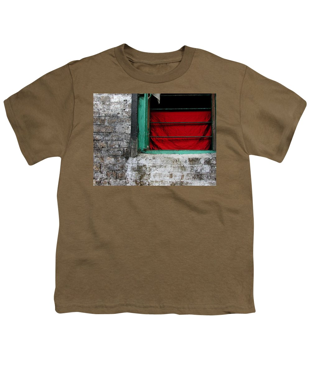 Red Youth T-Shirt featuring the photograph Dharamsala Window by Skip Hunt