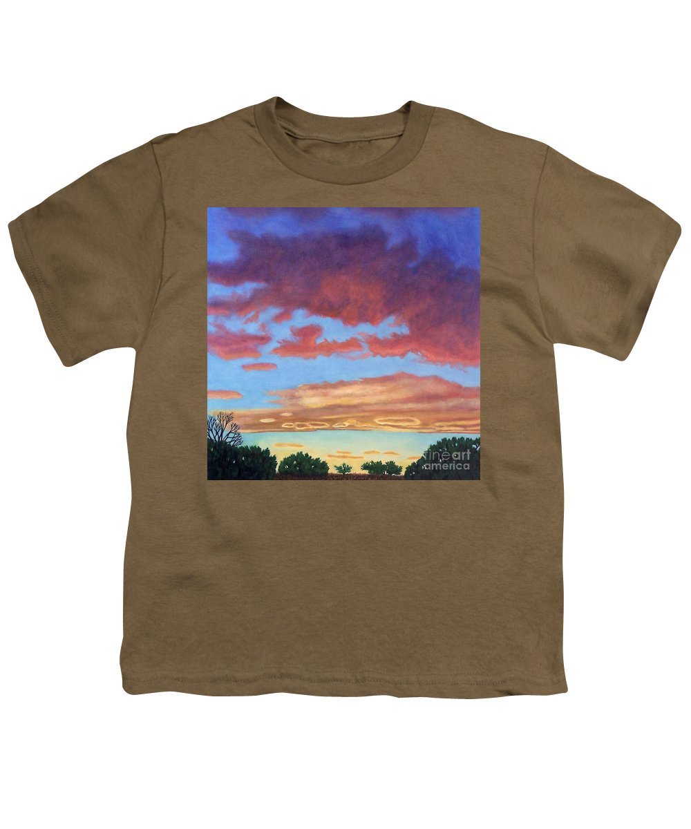 Sunset Youth T-Shirt featuring the painting El Dorado Sunset by Brian Commerford