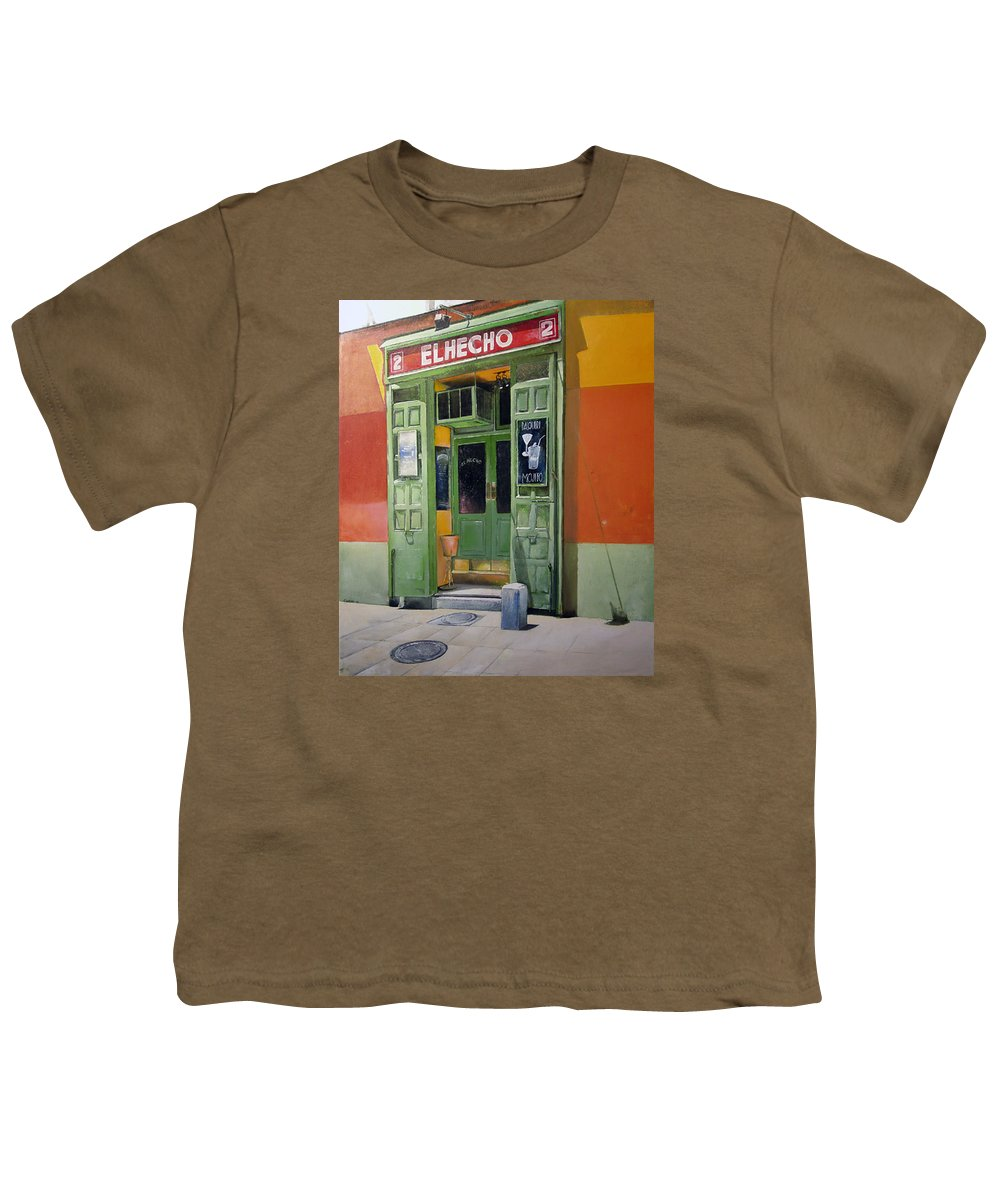 Hecho Youth T-Shirt featuring the painting El Hecho Pub by Tomas Castano