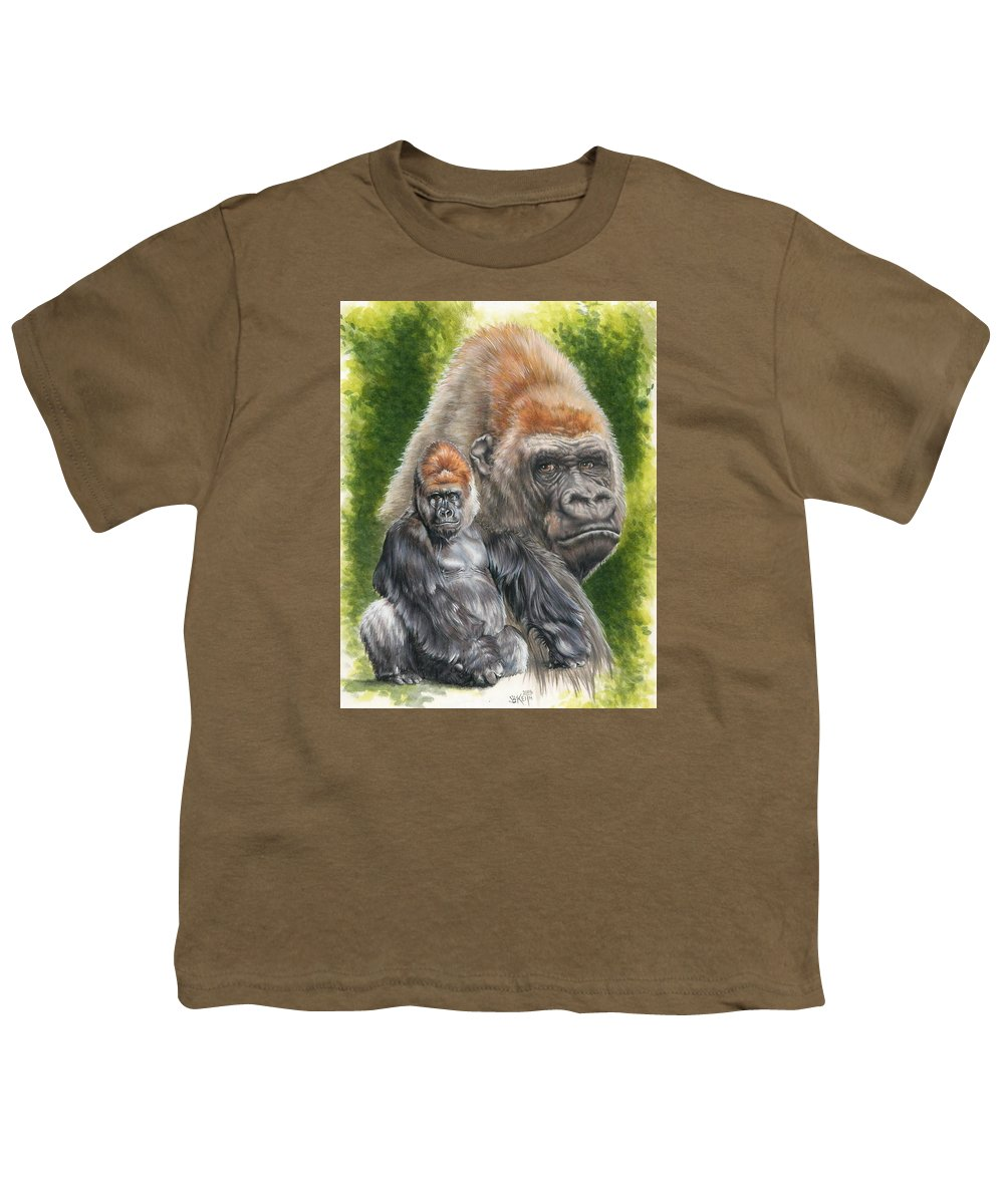 Gorilla Youth T-Shirt featuring the mixed media Eloquent by Barbara Keith