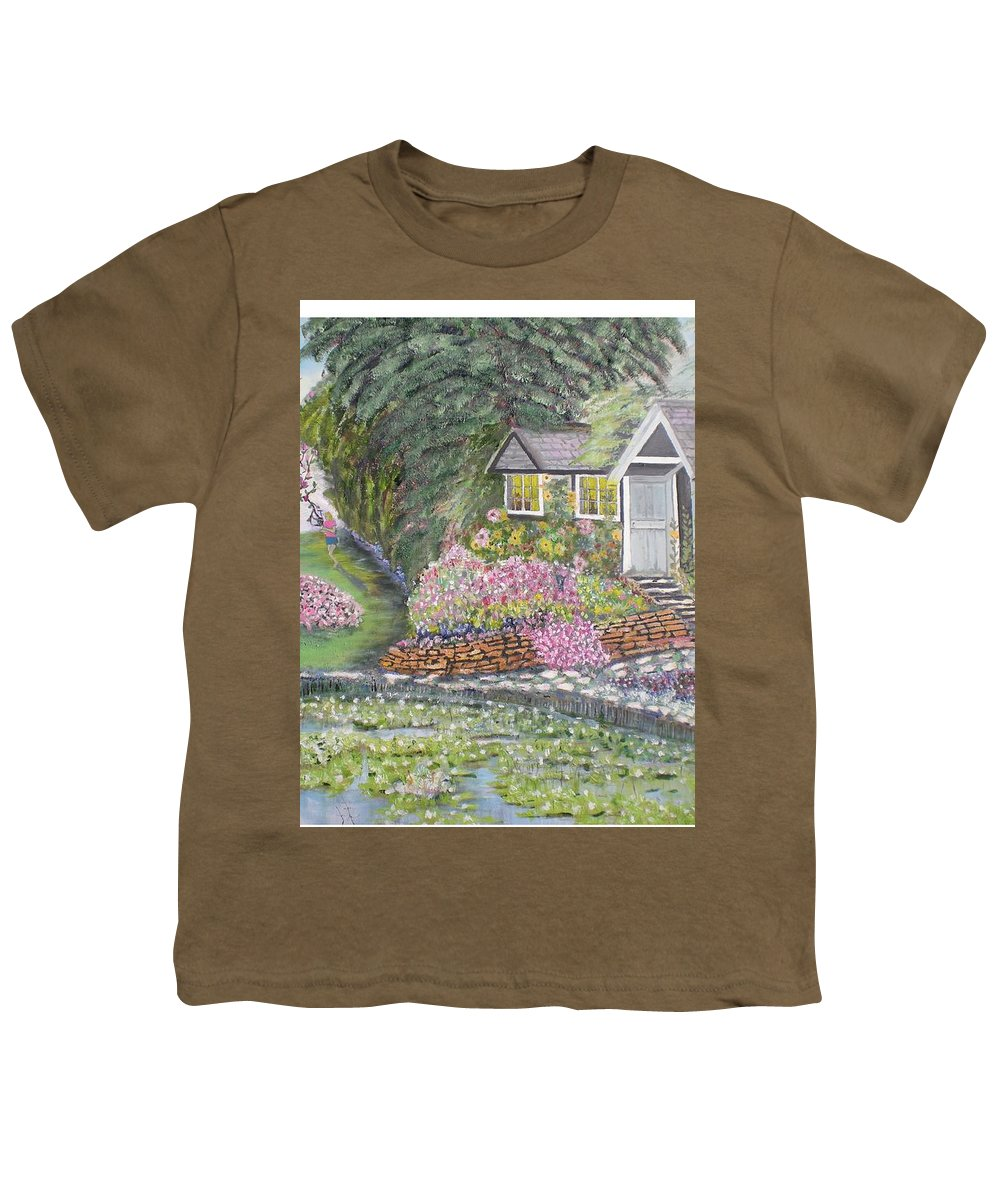 Cottage Youth T-Shirt featuring the painting English Cottage by Hal Newhouser