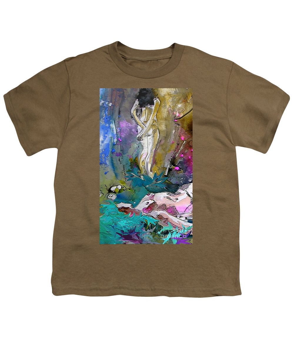Miki Youth T-Shirt featuring the painting Eroscape 1104 by Miki De Goodaboom