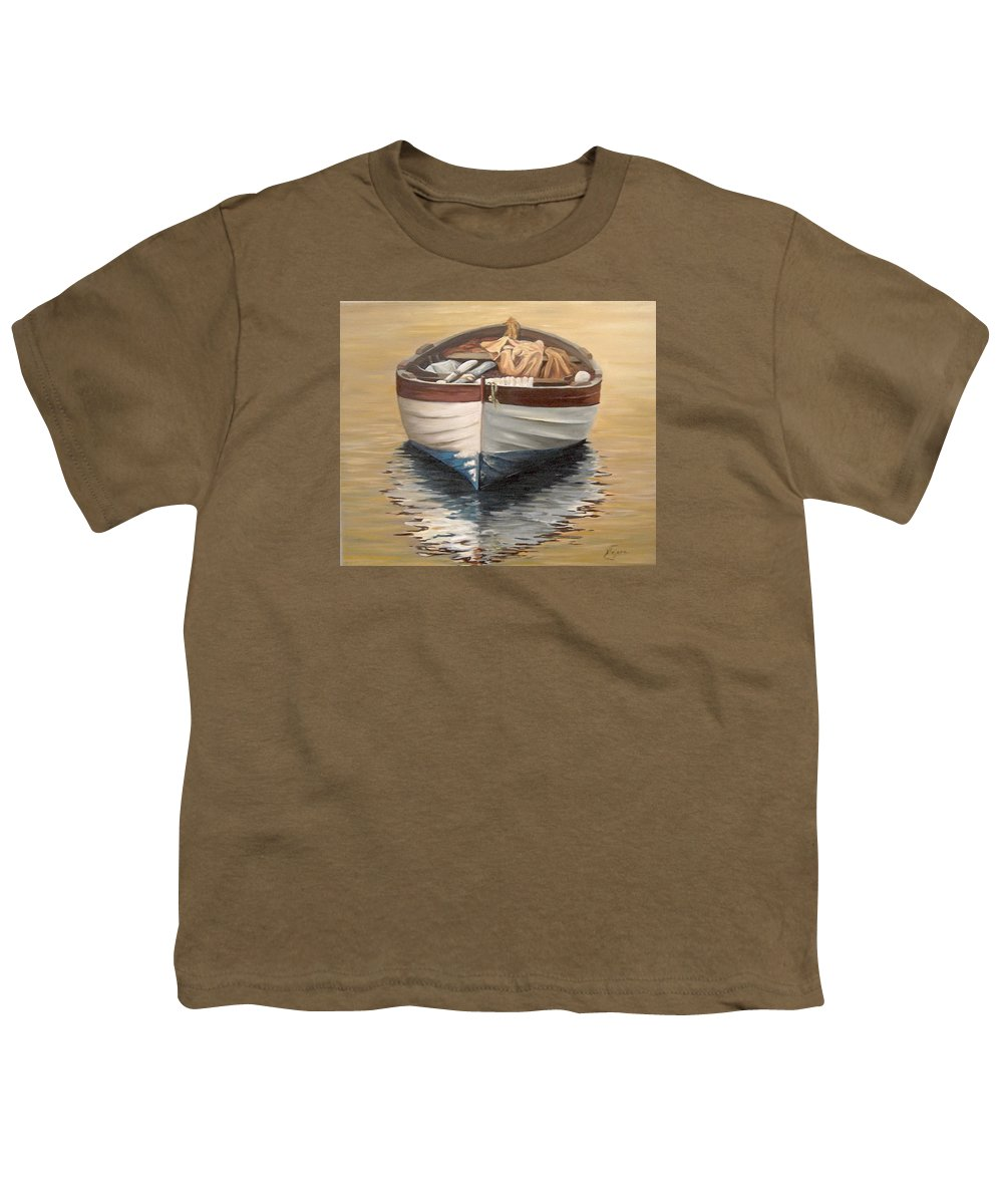 Boats Reflection Seascape Water Youth T-Shirt featuring the painting Evening Boat by Natalia Tejera