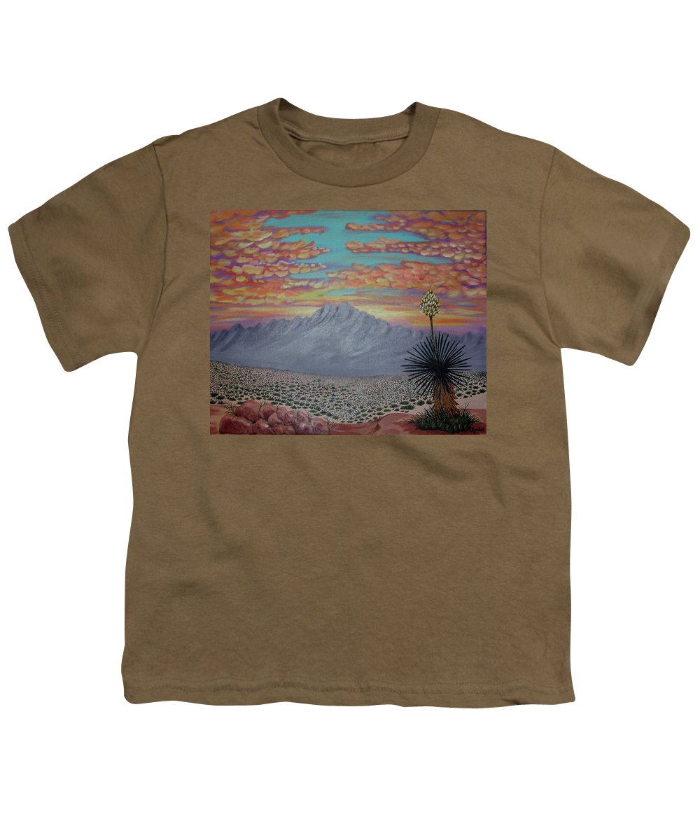 Desertscape Youth T-Shirt featuring the painting Evening In The Desert by Marco Morales