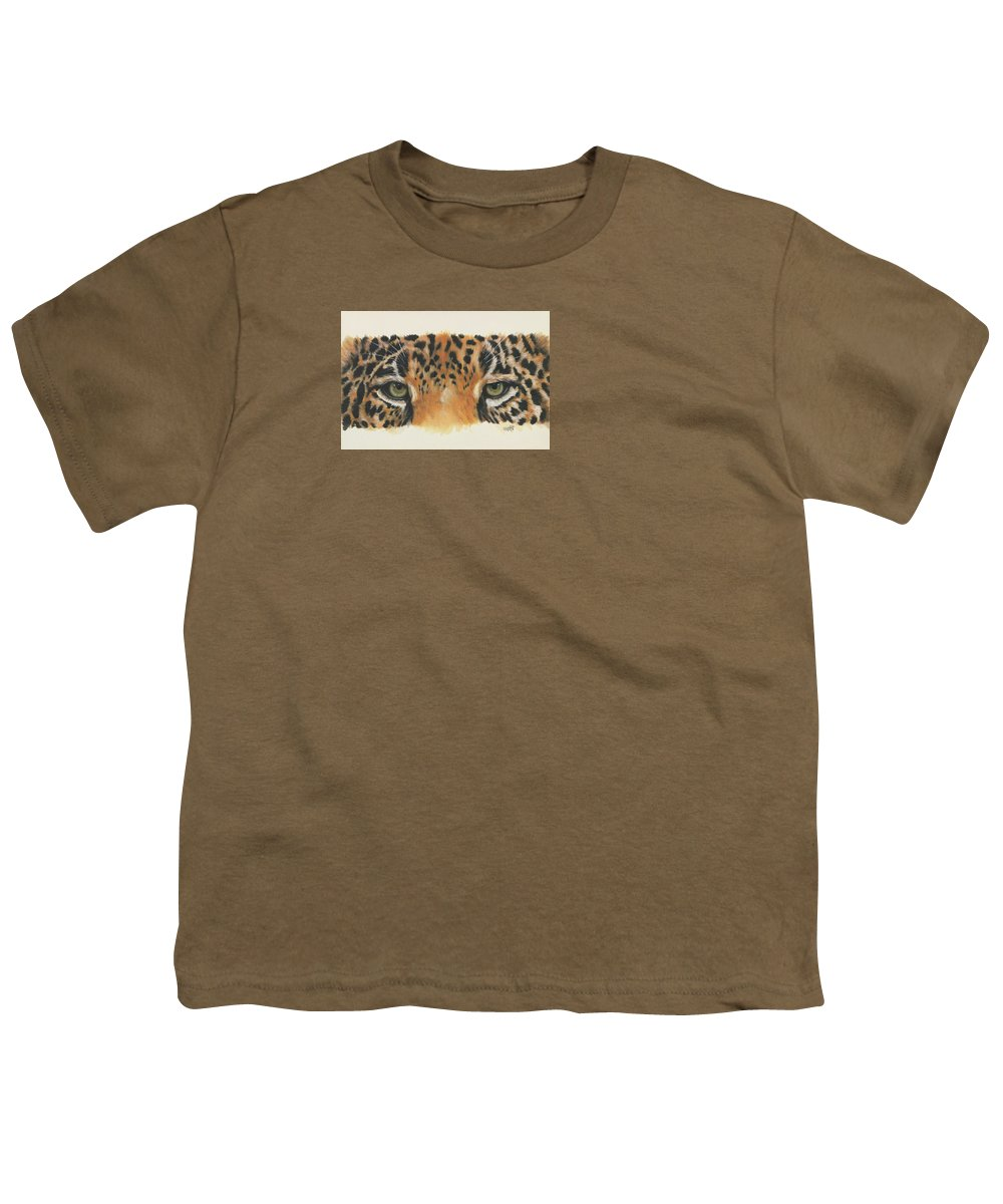 Jaguar Youth T-Shirt featuring the painting Eye-catching Jaguar by Barbara Keith