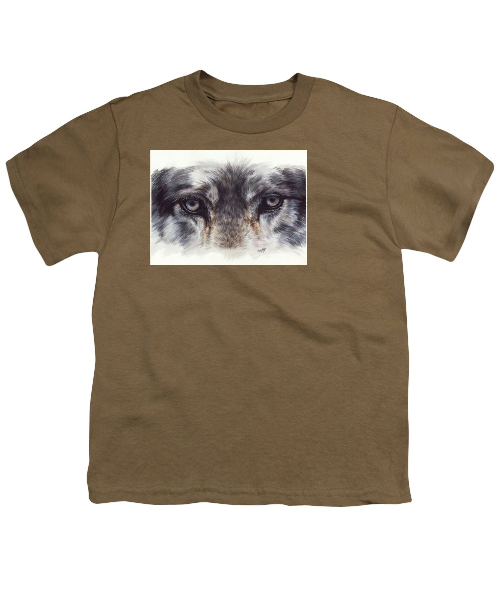 Wolf Youth T-Shirt featuring the painting Eye-catching Wolf by Barbara Keith