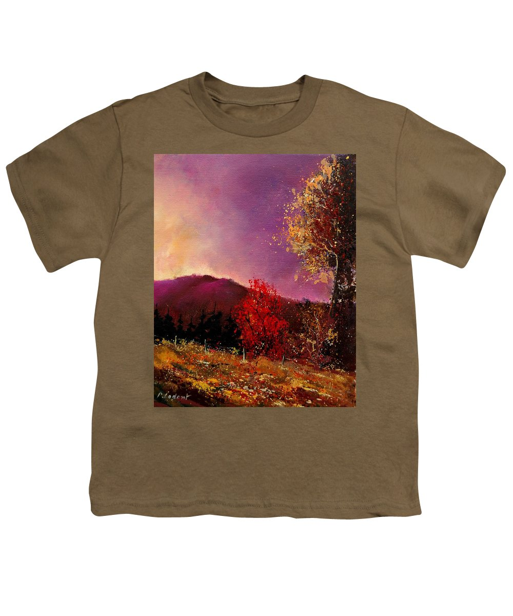 River Youth T-Shirt featuring the painting Fall Colors by Pol Ledent