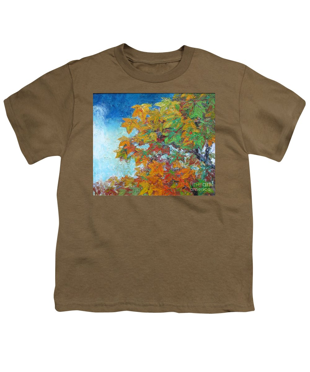 Fall Youth T-Shirt featuring the painting Fall Leaves by Meihua Lu