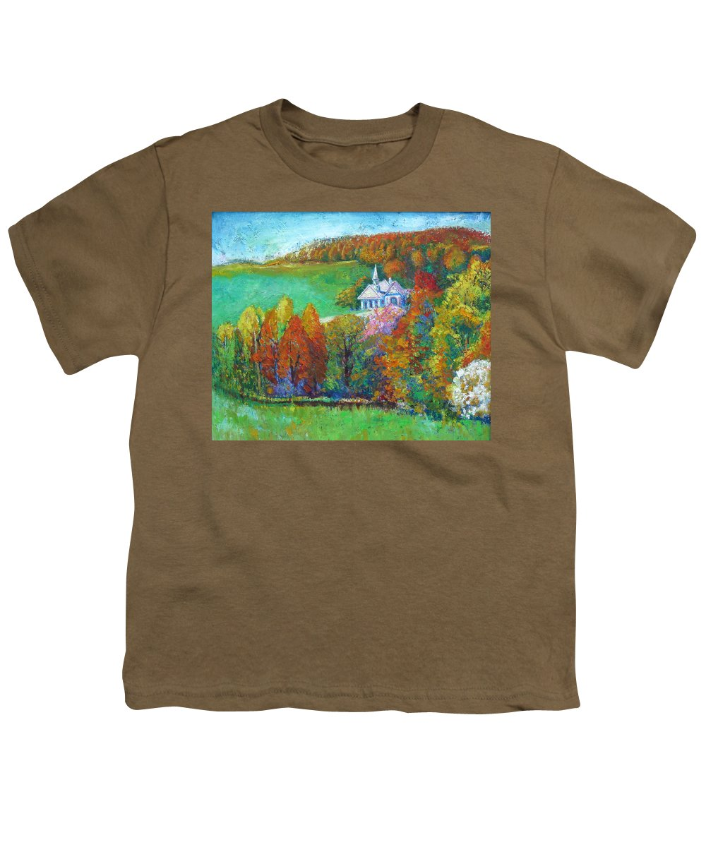 Fall Youth T-Shirt featuring the painting Fall Scene by Meihua Lu