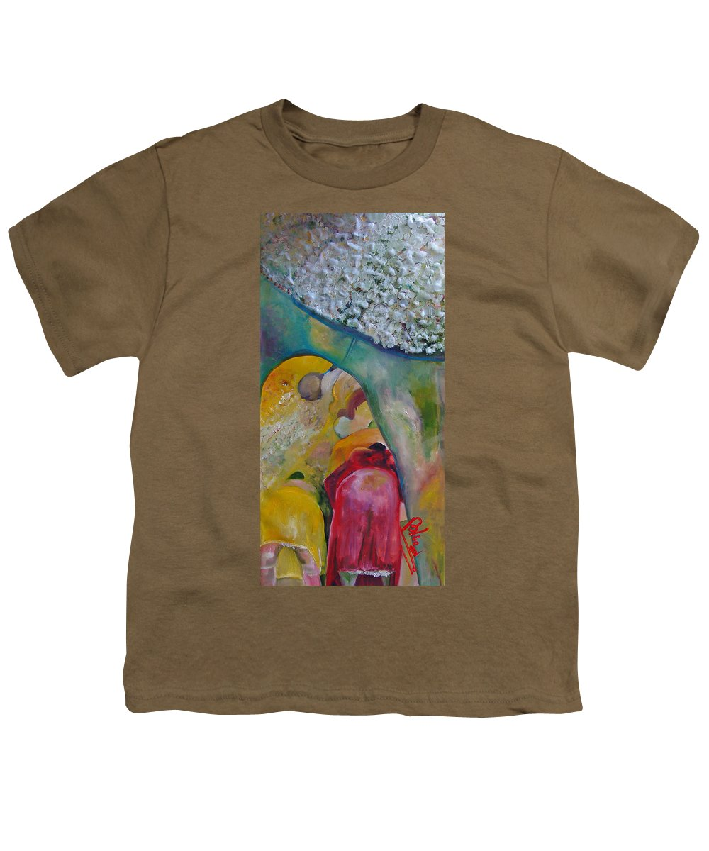 Cotton Youth T-Shirt featuring the painting Fields Of Cotton by Peggy Blood