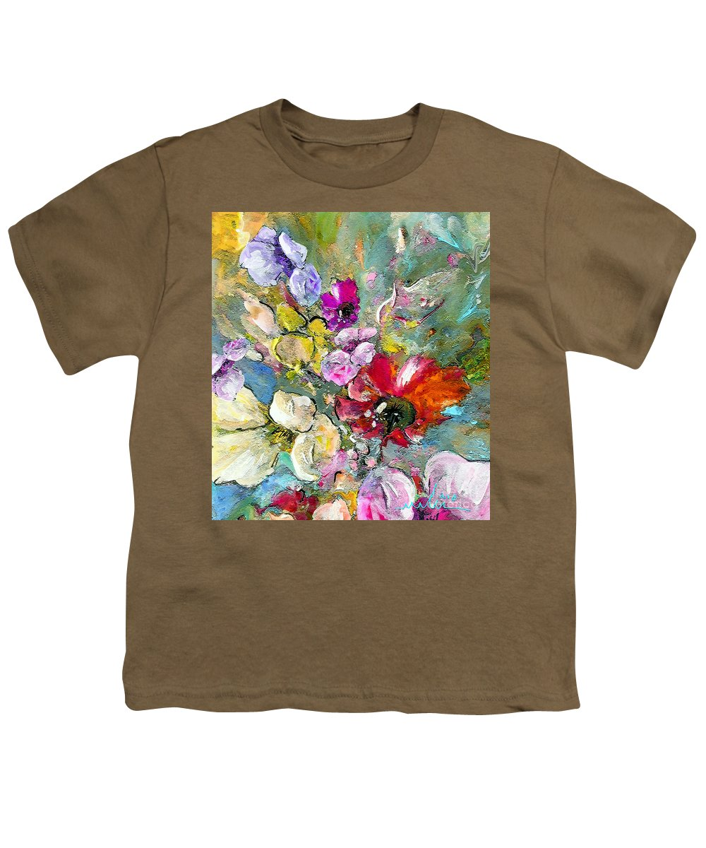 Nature Painting Youth T-Shirt featuring the painting First Flowers by Miki De Goodaboom