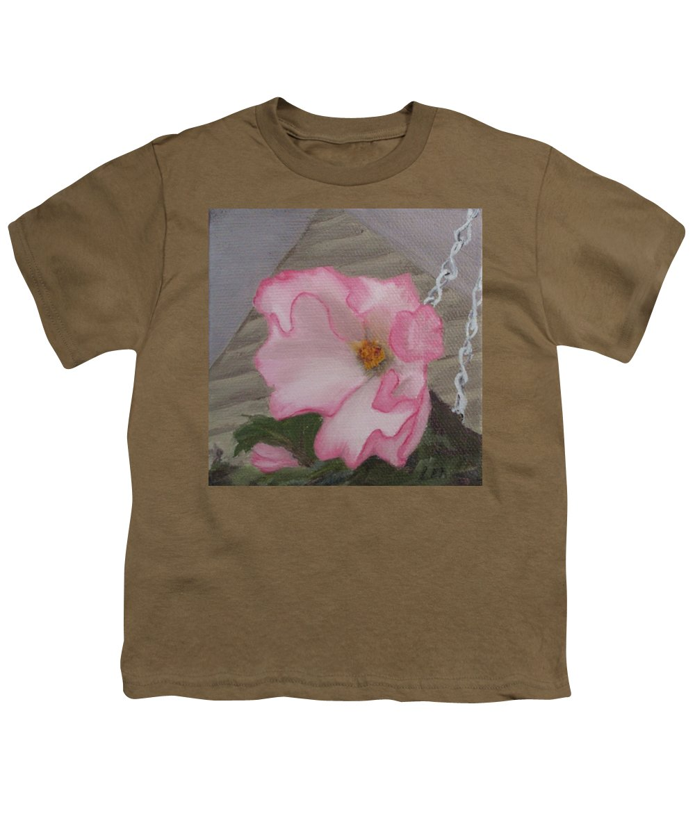 Flower Youth T-Shirt featuring the painting Flirty Begonia by Lea Novak