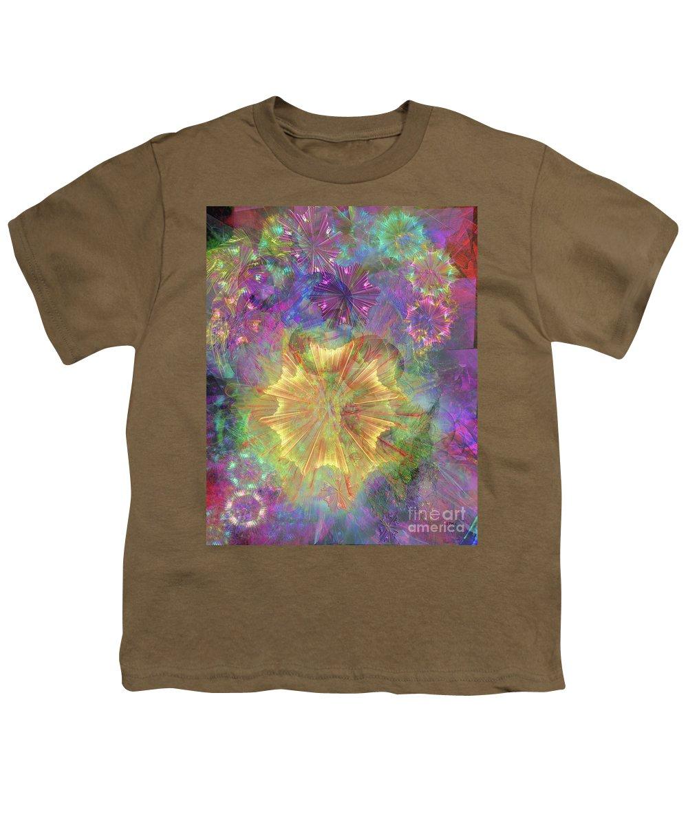 Flowerworks Youth T-Shirt featuring the digital art Flowerworks by John Beck