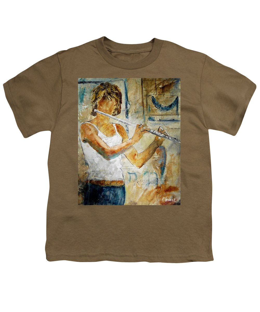 Music Youth T-Shirt featuring the painting Flutist by Pol Ledent