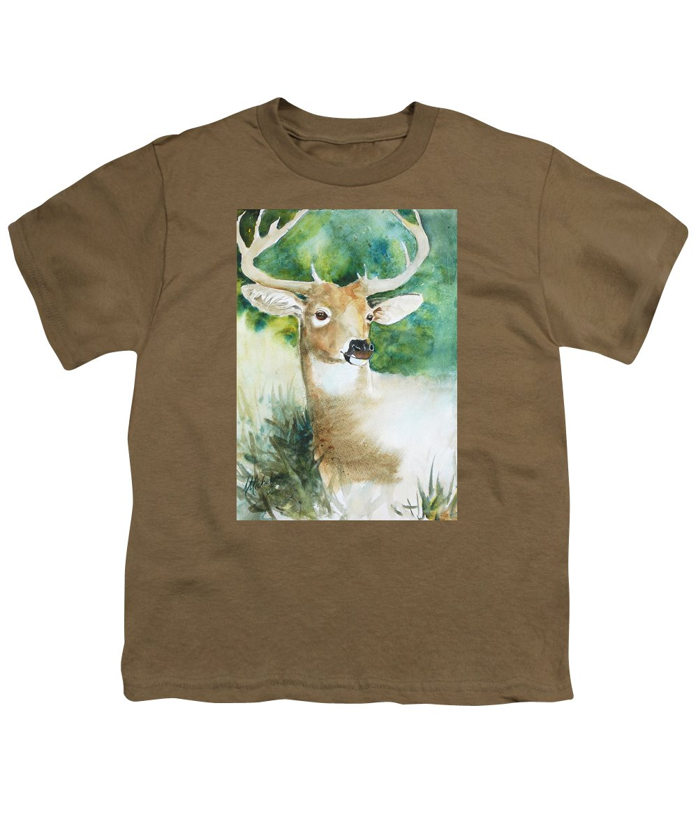 Deer Youth T-Shirt featuring the painting Forest Spirit by Christie Michelsen