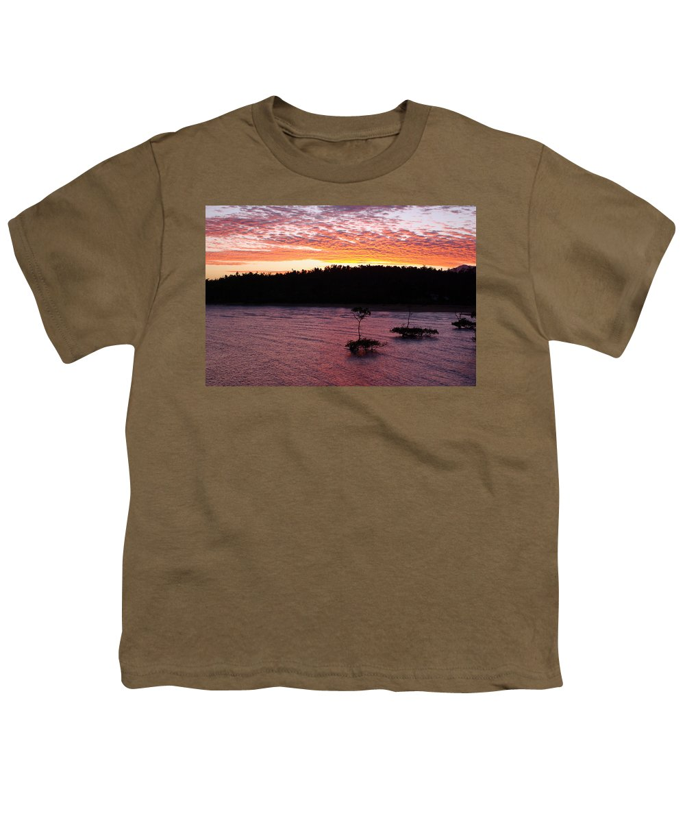 Landscape Youth T-Shirt featuring the photograph Four Elements Sunset Sequence 5 Coconuts Qld by Kerryn Madsen - Pietsch