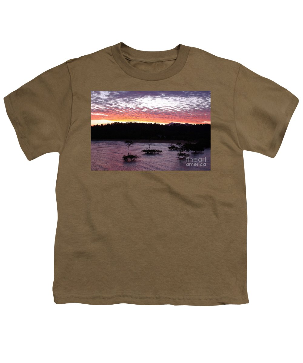 Landscape Youth T-Shirt featuring the photograph Four Elements Sunset Sequence 8 Coconuts Qld by Kerryn Madsen - Pietsch