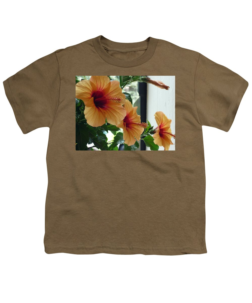 Photography Flower Floral Bloom Hibiscus Peach Youth T-Shirt featuring the photograph Friends For A Day by Karin Dawn Kelshall- Best