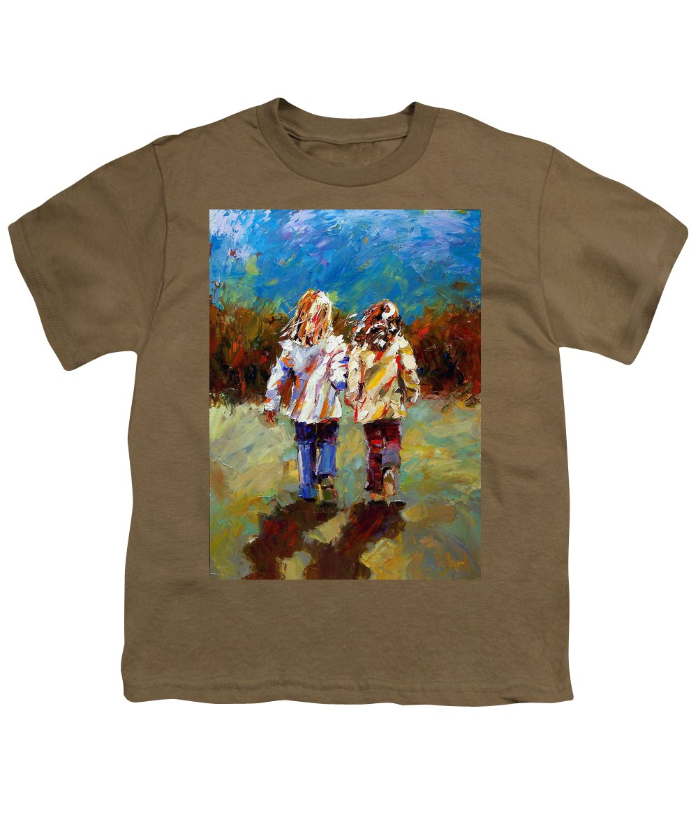 Girls Youth T-Shirt featuring the painting Friends Forever by Debra Hurd