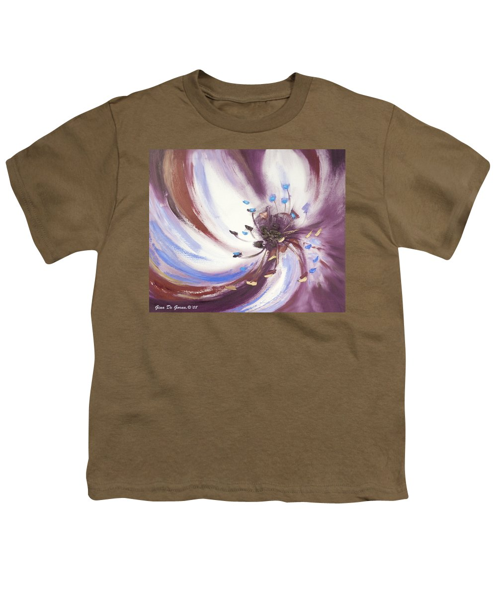 Brown Youth T-Shirt featuring the painting From The Heart Of A Flower Brown 2 by Gina De Gorna