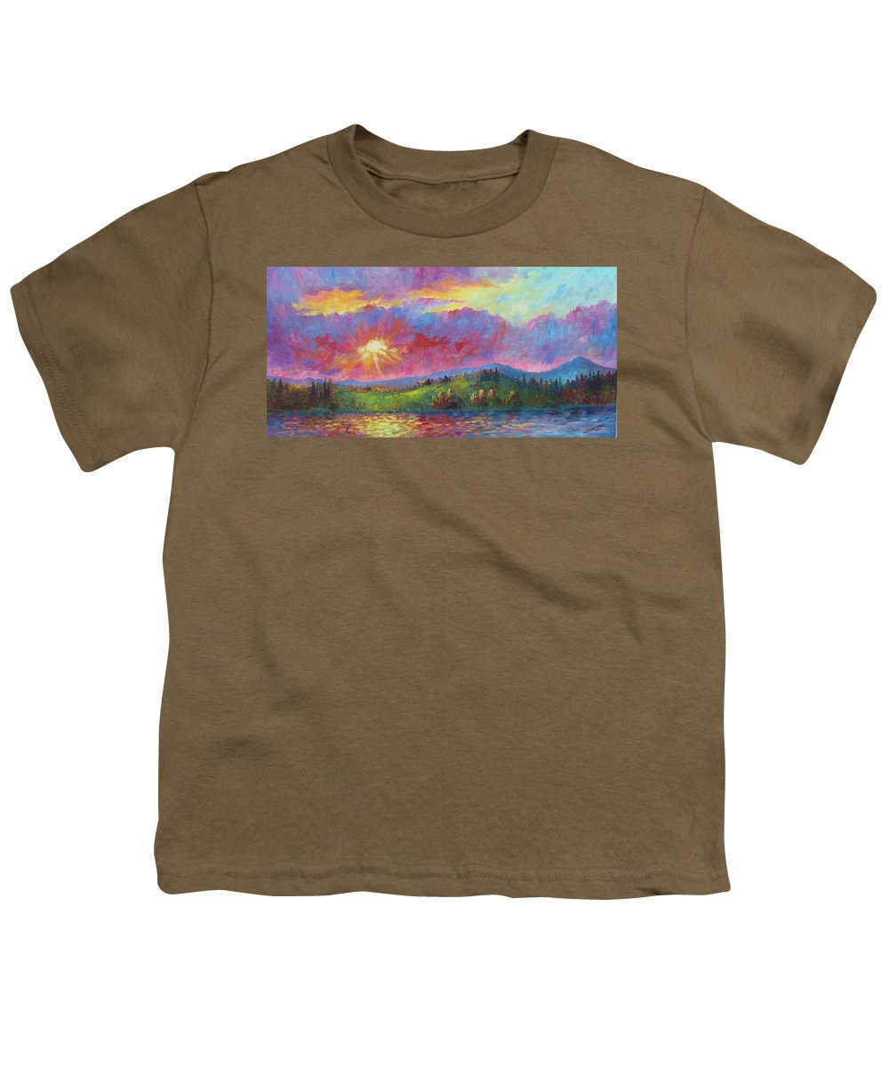 Landscape Youth T-Shirt featuring the painting Front Range Sunset by David G Paul