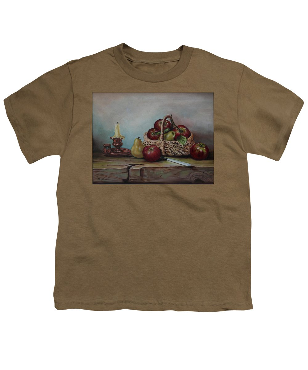 Fruit Basket Youth T-Shirt featuring the painting Fruit Basket - Lmj by Ruth Kamenev