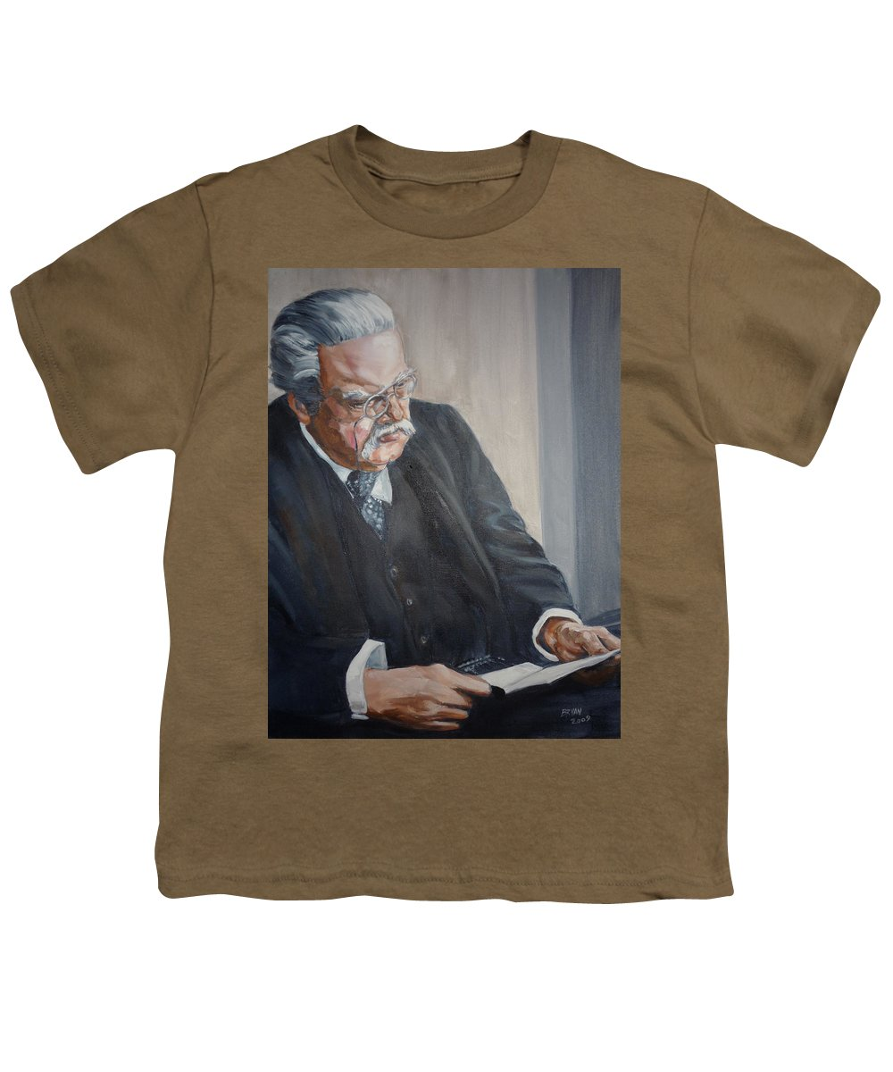 Chesterton Author Catholic Youth T-Shirt featuring the painting G K Chesterton by Bryan Bustard