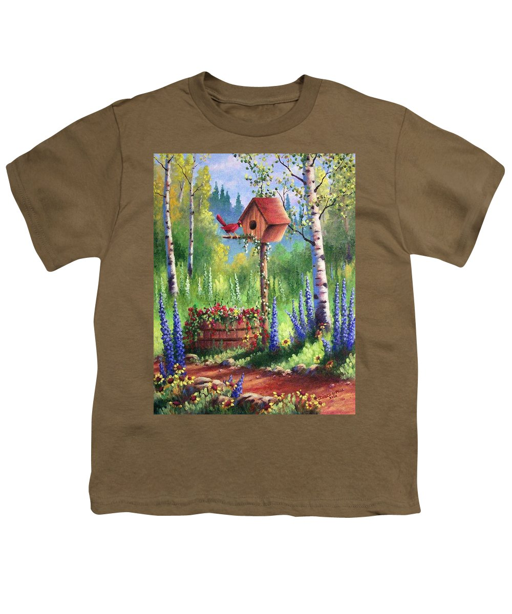 Bird Youth T-Shirt featuring the painting Garden Birdhouse by David G Paul
