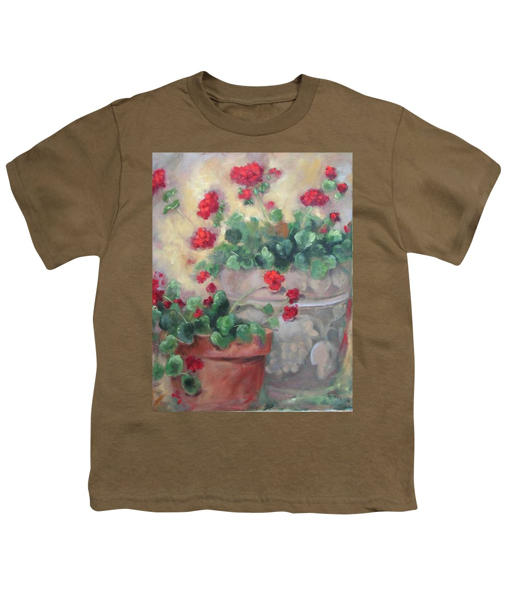 Geraniums Youth T-Shirt featuring the painting Geraniums by Ginger Concepcion
