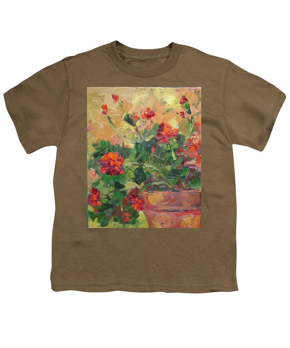 Geraniums Youth T-Shirt featuring the painting Geraniums II by Ginger Concepcion