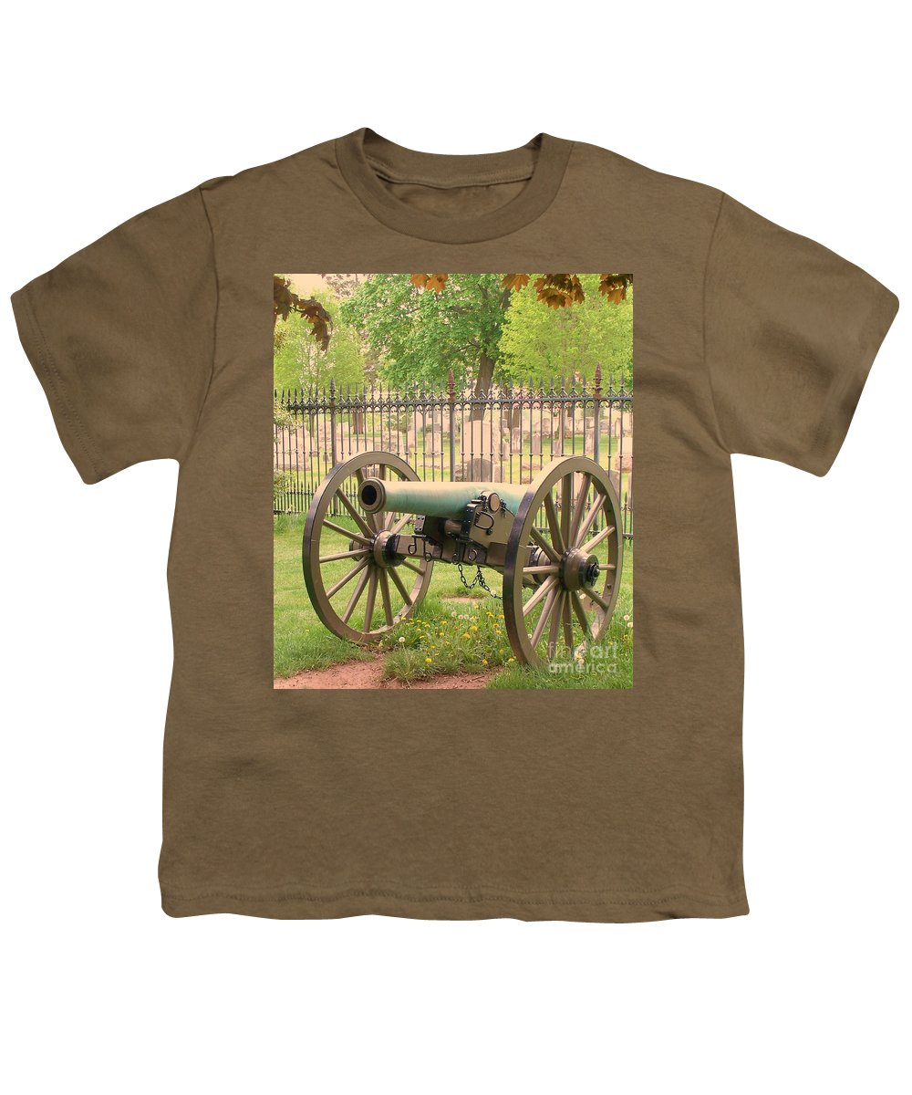 Gettysburgs Youth T-Shirt featuring the painting Gettysburg Cannon Cemetery Hill by Eric Schiabor