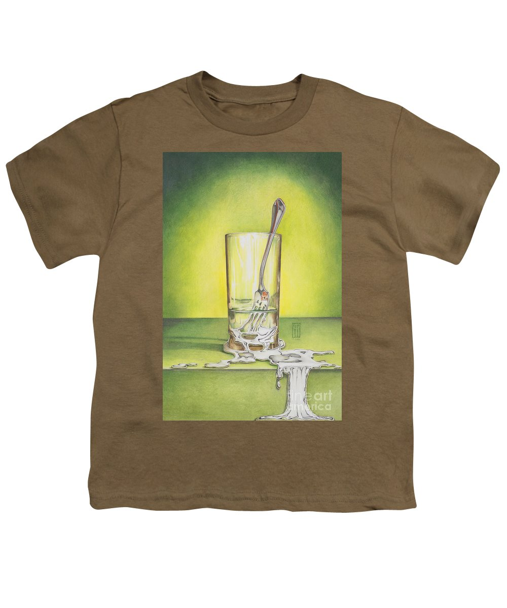 Bizarre Youth T-Shirt featuring the painting Glass With Melting Fork by Melissa A Benson