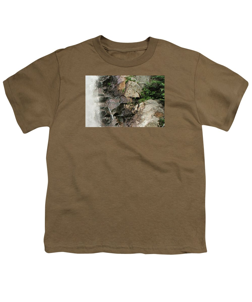 Waterfall Youth T-Shirt featuring the photograph Glen Falls Abstract by Dave Martsolf
