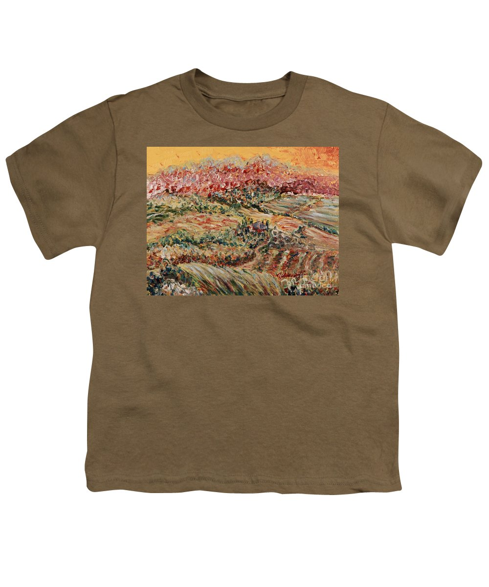 Provence Youth T-Shirt featuring the painting Golden Provence by Nadine Rippelmeyer