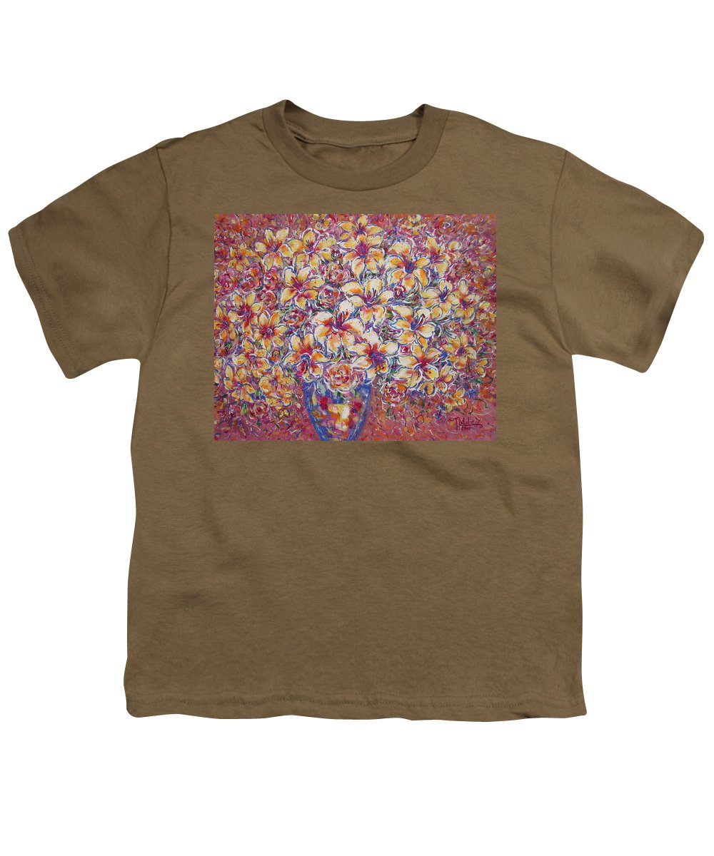 Lily Youth T-Shirt featuring the painting Golden Splendor by Natalie Holland