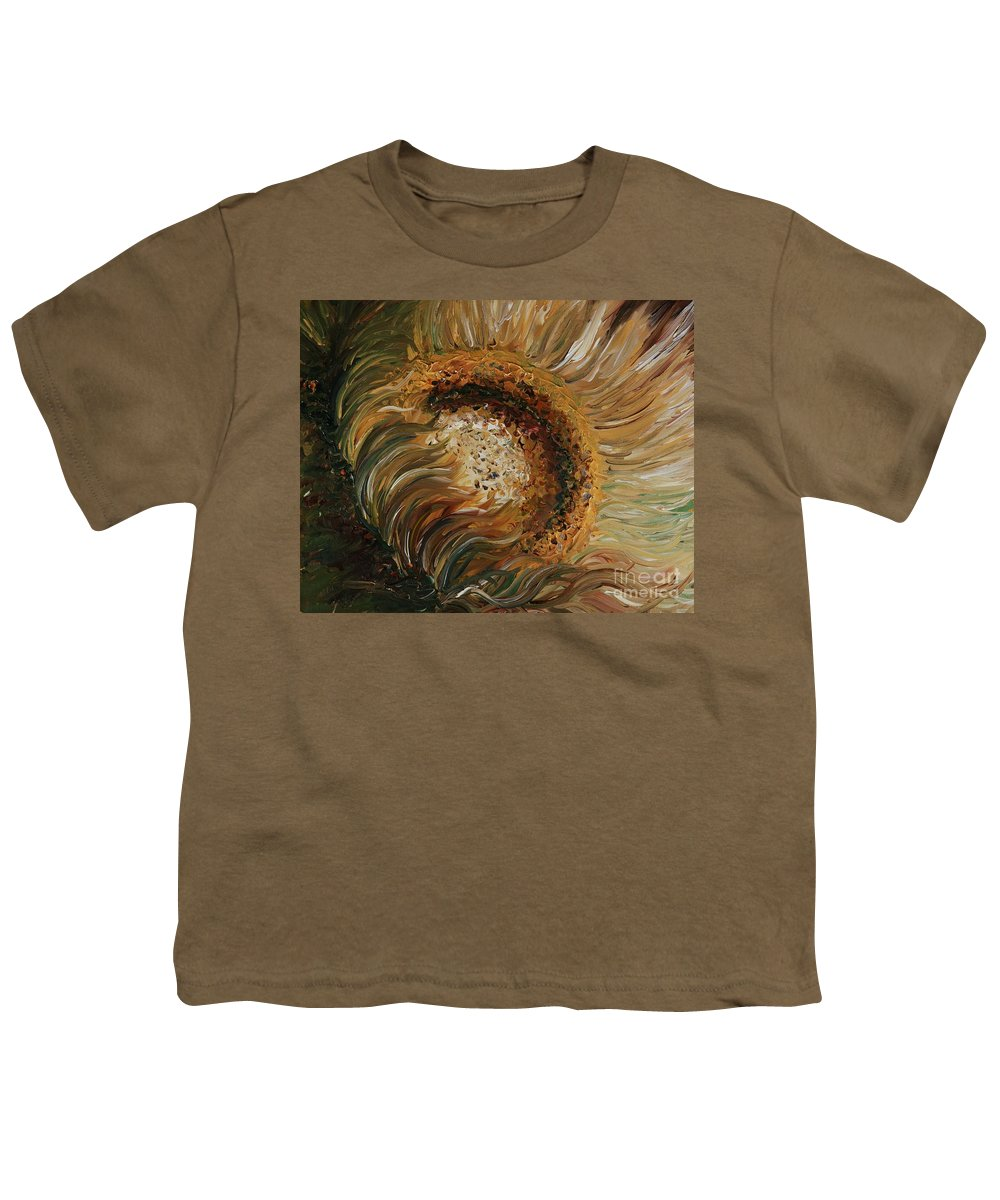 Sunflower Youth T-Shirt featuring the painting Golden Sunflower by Nadine Rippelmeyer