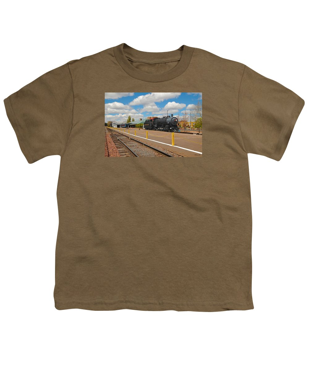 Grand Canyon Railway Youth T-Shirt featuring the photograph Grand Canyon Railway by Victoria Oldham