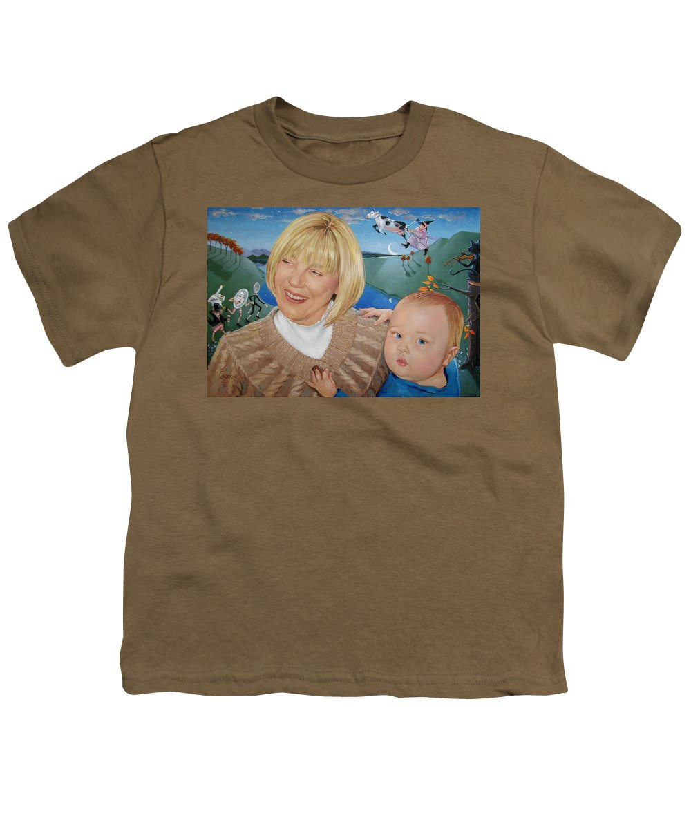 Portrait Youth T-Shirt featuring the painting Grandma And Kaidin by Jerrold Carton