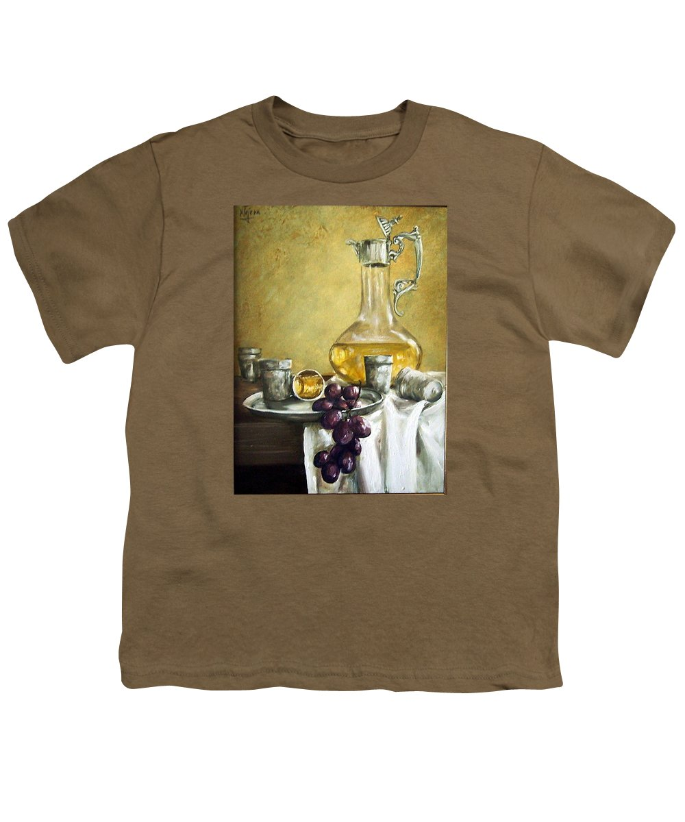 Still Life Cristal Bottle Grapes Fruits Glass Youth T-Shirt featuring the painting Grapes And Cristals by Natalia Tejera