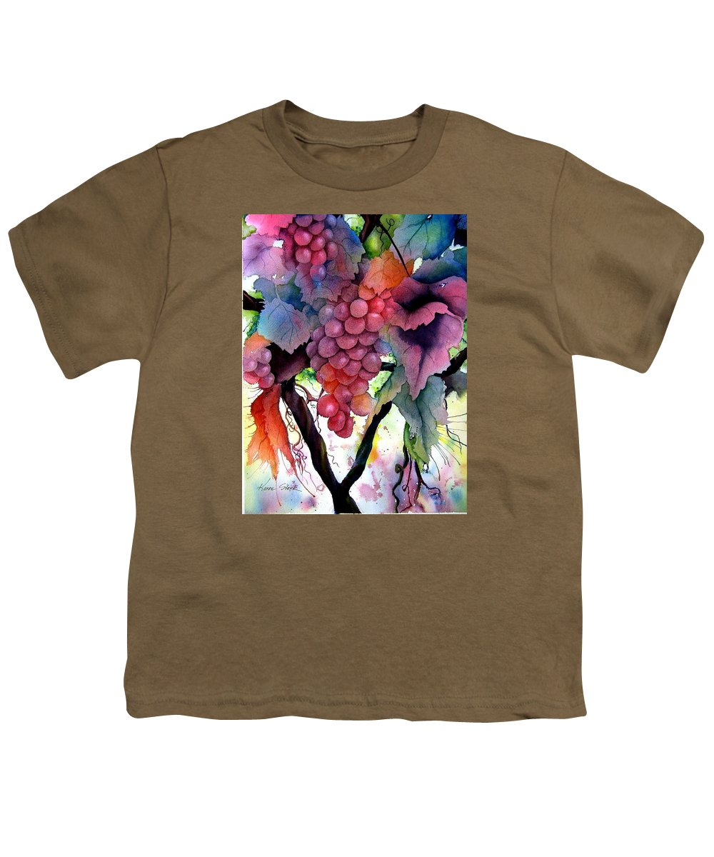 Grape Youth T-Shirt featuring the painting Grapes III by Karen Stark