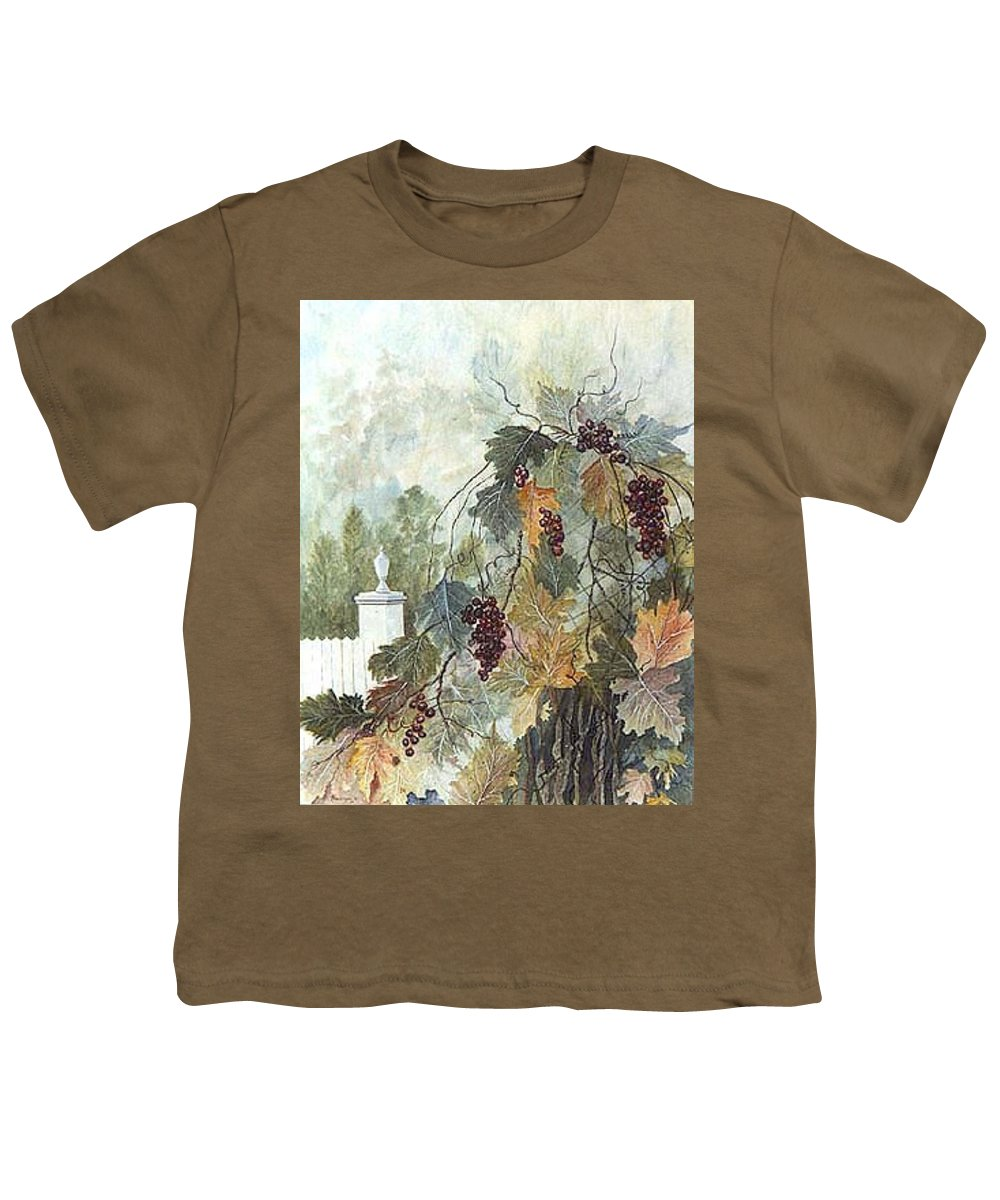 Fruit Youth T-Shirt featuring the painting Grapevine Topiary by Ben Kiger