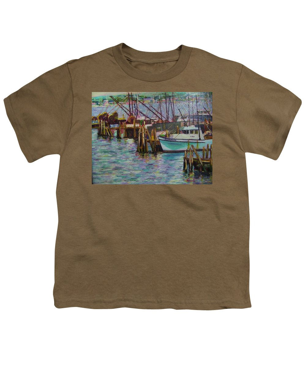 Boat Youth T-Shirt featuring the painting Green Boat At Rest- Nova Scotia by Richard Nowak