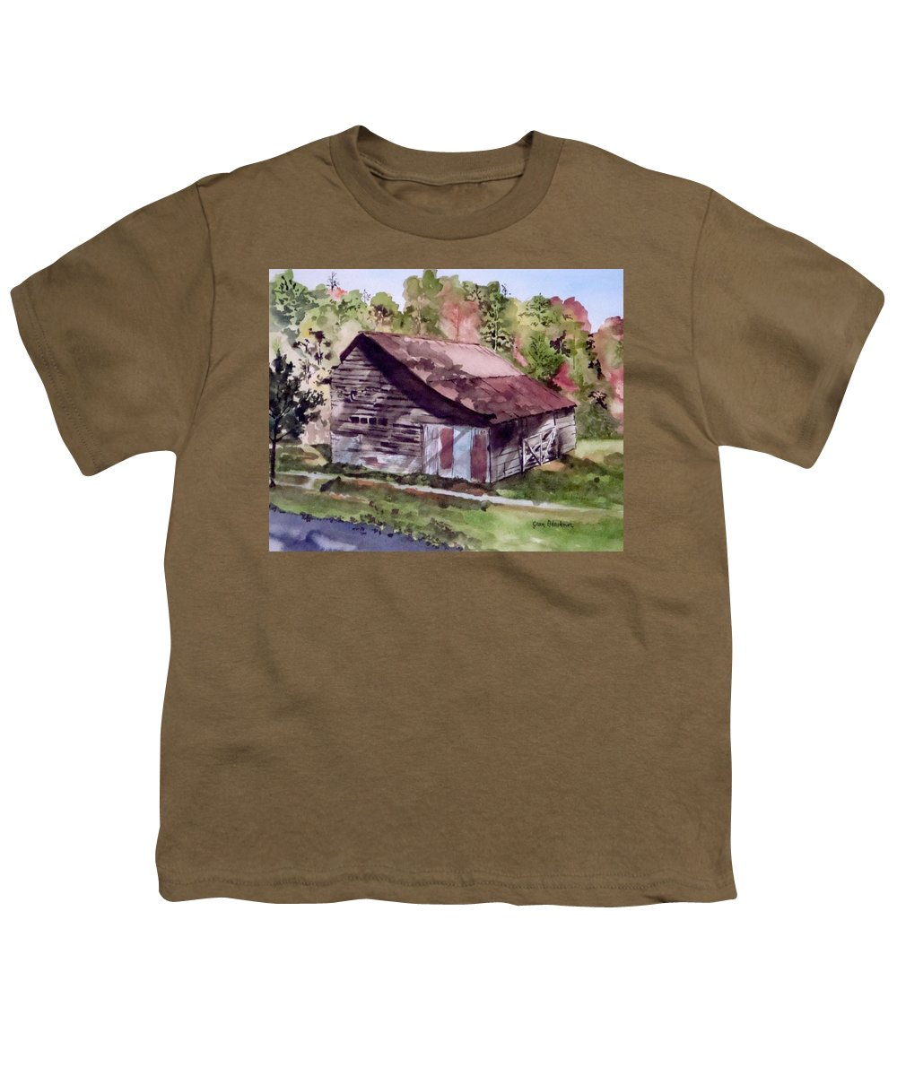 Barns Youth T-Shirt featuring the painting Green Creek Barn by Jean Blackmer