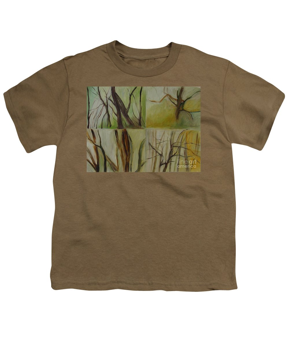Spring Young Trees Saplings Trees Youth T-Shirt featuring the painting Green Sonnet by Leila Atkinson