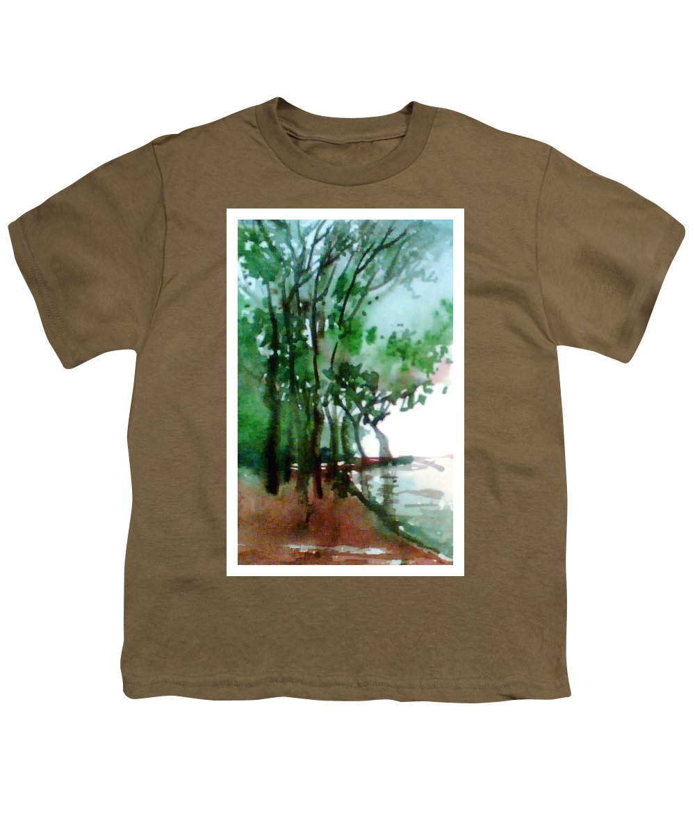 Water Color Youth T-Shirt featuring the painting Greens by Anil Nene